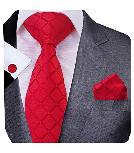GUSLESON Red Tie Plaid Necktie Set Including Hanky Cufflinks (0706-10)