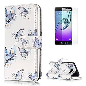 333c68a6c1a CaseHome Compatible For Samsung Galaxy A3 2016/A310F Wallet Funda PU  Leather Cuero Billetera para Estilo del Libro Estuche del Protector-Azul de  la Mariposa ...