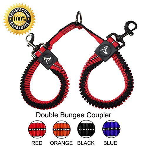 KRUZ PET KZVX2-03L No Tangle Dog Bungee Leash Coupler, Walking 2 Dogs, Large