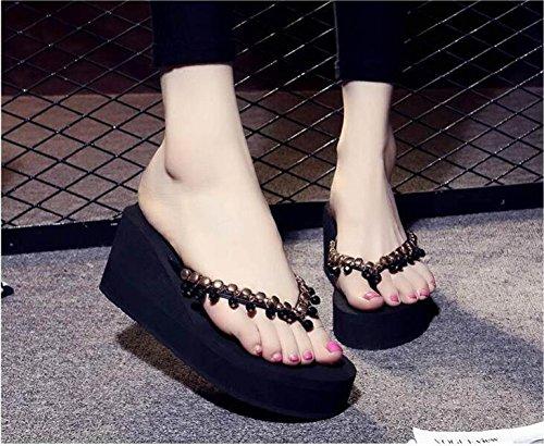 GSHGA Sandales Et Hauts Pantoufles Black Femmes Pantoufles Plate Talons D'été Tongs forme pqrgSpw