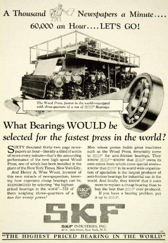 1929-ad-skf-industries-wood-press-henry-a-wise-newspaper-advertisement-bearings-original-print-ad