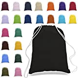 Cotton Canvas Backpack Bags - 12 Pack - Bulk Pack, Promotional Sport Gym Sack Cinch Bags (Assorted)