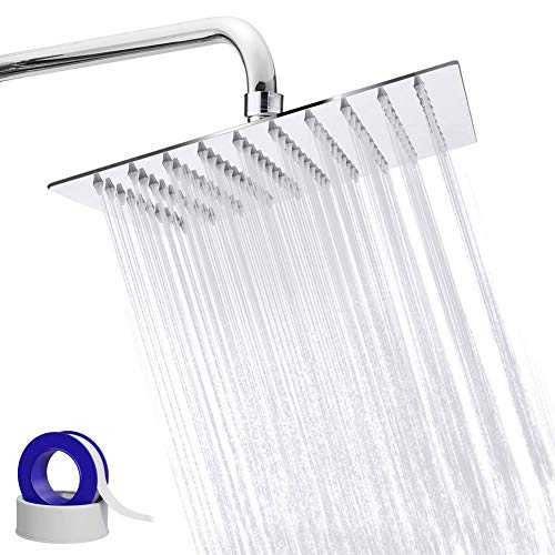 Litcher Rainfall Shower Head, High Pressure Polished Chrome 304 Stainless Steel, Waterfall Effect, Ultra Thin 8,360 Degree Adjustable,Self-Cleaning Silicone Nozzle,for Bathroom & Hotel (Square)