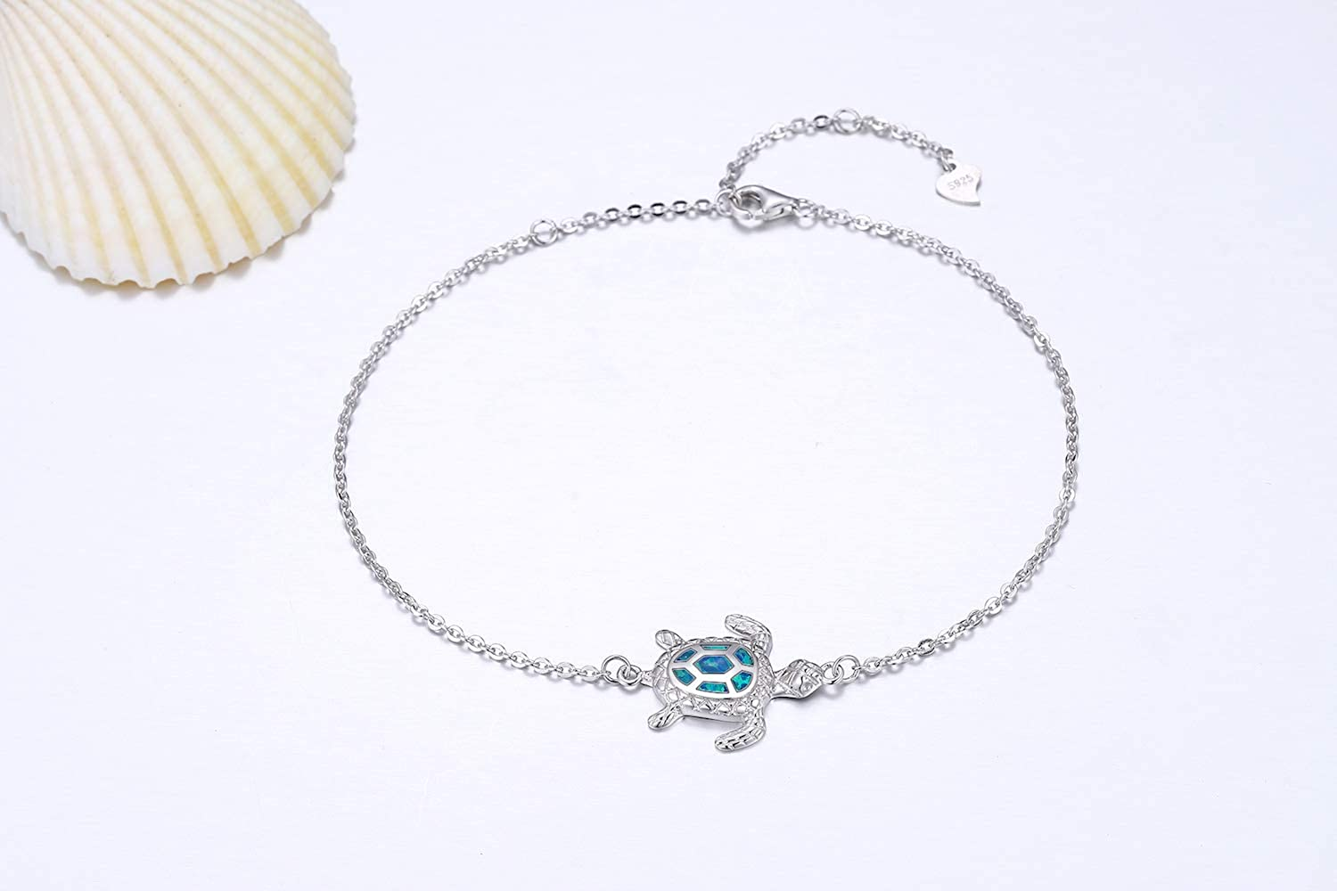 Beach Anklets Sea Turtle Anklet Sea Turtle Ankle Bracelet Turtle Jewelry Sea Life Gift Ocean Jewelry Imitation Blue Opal Anklet