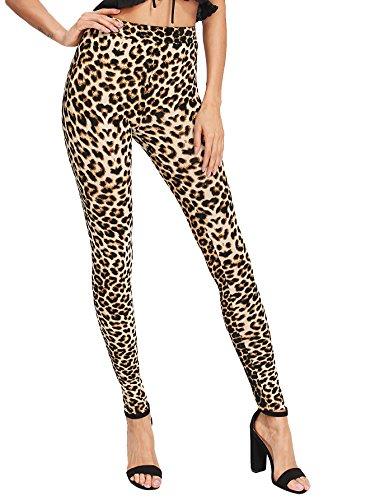 SweatyRocks Women's Soft Stretchy Print Wokout Leggings Tights High Waist Yoga Pants Leopard L