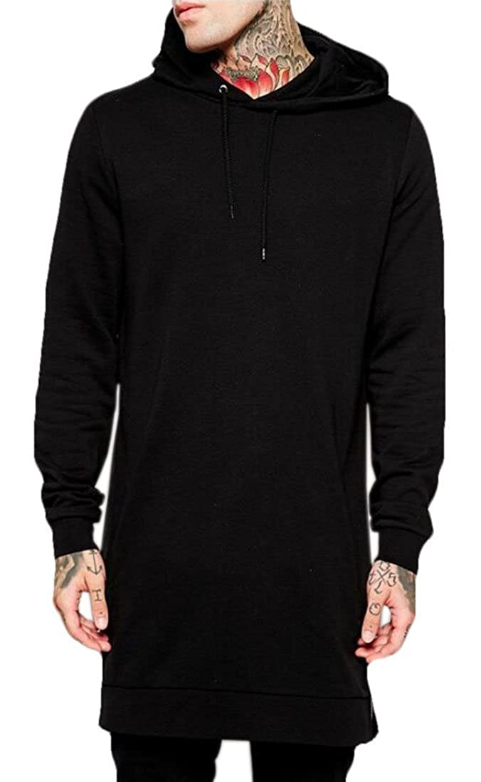 Nanquan Men Solid Color Drawstring Zipper Long Sleeve Pullover Hoodies Sweatshirt
