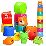 Bath Toy Stacking Cups,BBLIKE 14pcs Floating Toy Rubber Duck Set of Squirt Game Animals, with Alphabet Letter number Lovely Gift for Baby Boy and Girl