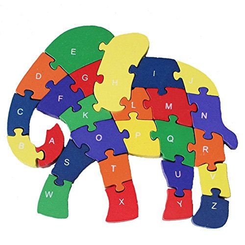 HIPGCC Counting Elephant Wooden Letters and Numbers Jigsaw Puzzles, Family Game for Kids,Interactive Educational Toys for 3 4 5 Years Old and Up Toddler Boys Girls Preschool Children, Birthday Gift