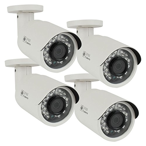 (4) Pack of Professional 900TVL Outdoor Surveillance Video Camera with Power Supply Kit - 900 TV Lines, 3.6mm Wide Angle Lens, 24pcs IR LED, WDR (Wide Dynamic (Ccd 480 Tv Lines)