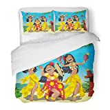 SanChic Duvet Cover Set Dance Hawaii Party Three Young Hula Girls Dancing on The Beach Cocktail Aloha Decorative Bedding Set 2 Pillow Shams King Size