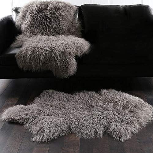 Genuine Tibetan Mongolian Sheepskin Fur Rug, Mongolian Lamb Wool Carpet Curly Fur Pelt Throw Rug Home Decorative Curly Fur Soft Hair 41.5-43.5 in Long and 23.5-25.5 in Wide