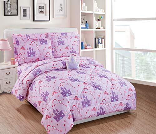 Fancy Linen 7pc Full Comforter Set Princess Castle Palace Pink Lavender White New (Fancy Sets Comforter)