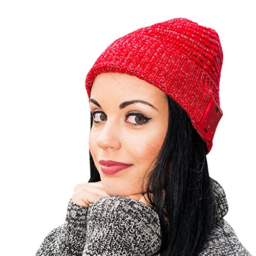 Caseco Blu-Toque Bluetooth Beanie Knit Skully Beanie Cap Hat with Wireless Bluetooth Headphone Headset Earphone Music Audio Hands-free Phone Call for Winter Sports Fitness Gym Exercise Workout - Blu Beanie