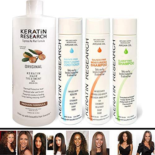 Brazilian Keratin Blowout Straightening Smoothing Hair Treatment 4 Bottles 1000ml Kit Includes Sulfate Free Shampoo Conditioner set by Keratin Research Queratina Keratina Brasilera Tratamiento