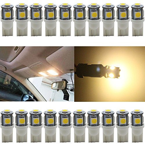 (JAVR - Pack of 20 - Bright Warm White 194 T10 168 2825 W5W Car Interior Replacement LED Light Bulb - 5th Generation 5050 Chipsets 5SMD Lighting Source for 12V)