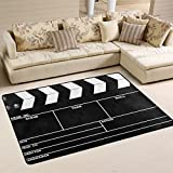 ALAZA Black Movie Clapboard Area Rug Rugs Mat for Living Room Bedroom 6'x4′