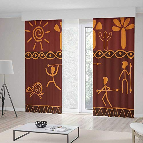 Blackout Curtains,Primitive,Theme Home Decor Dining Room Bedroom Curtains for Kids Room Window Treatments,African Tribe Hunting Scene Wild Animal Casual Old Days Artistic Ethnic Pattern,2 Panel -