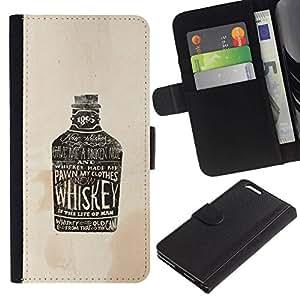 All Phone Most Case / Oferta Especial Cáscara Funda de cuero Monedero Cubierta de proteccion Caso / Wallet Case for Apple Iphone 6 PLUS 5.5 // Whiskey Brown Drunk Drinking Party