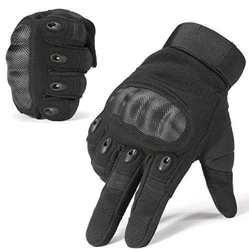 JIUSY Army Military Tactical Touchscreen Hard Knuckle Full Finger Gloves for Outdoor Motorcycle Cycling Racing Hunting Hiking Airsoft Paintball Shooting Work Size X-Large Black