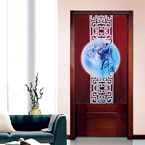 LifEast Japanese Style Noren Curtain the Bright Full Moon Chinese Peony Doorway Curtains (# 1)