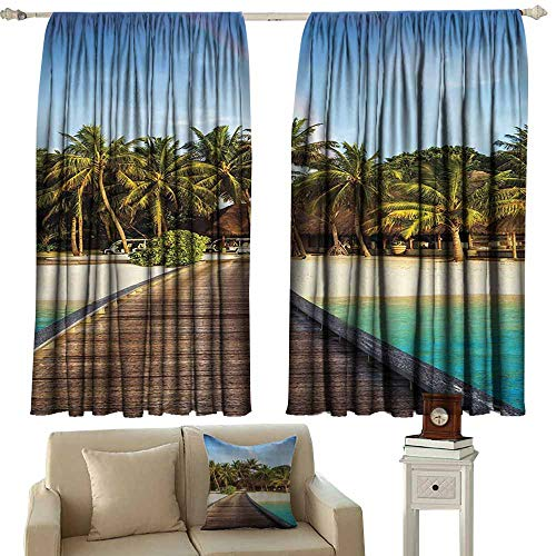 (WinfreyDecor Wooden Bridge Decor Collection Drapes for LivingRoom Island Beach Resort Colorful Rainbow Over Palm Trees Style Suitable for Bedroom Living Room Study, etc.55 Wx39 L Green Beige Aqua)