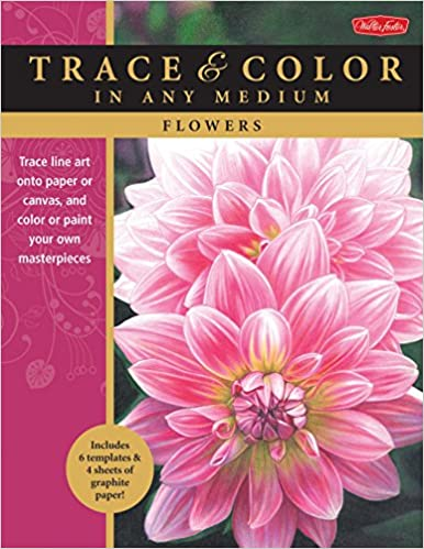 Flowers: Trace line art onto paper or canvas, and color or