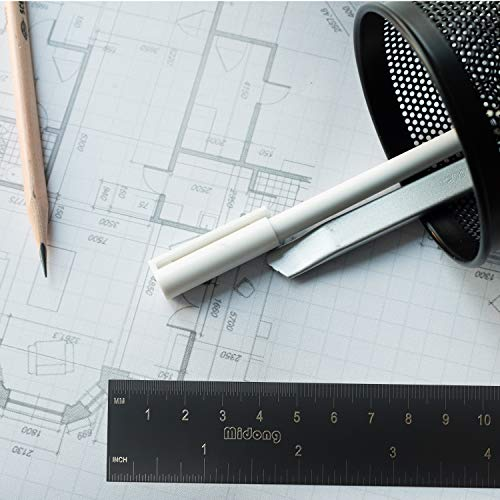 12inch Midong 30cm and 15cm Black Laser Etched Steel Ruler Set with Conversion Table 2 Pack 6inch Metal Ruler