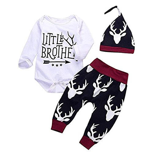 Newborn Infant Baby Boy Girl Christmas Outfits Set Little Brother Romper Long Pants Hat 3PC Clothes -
