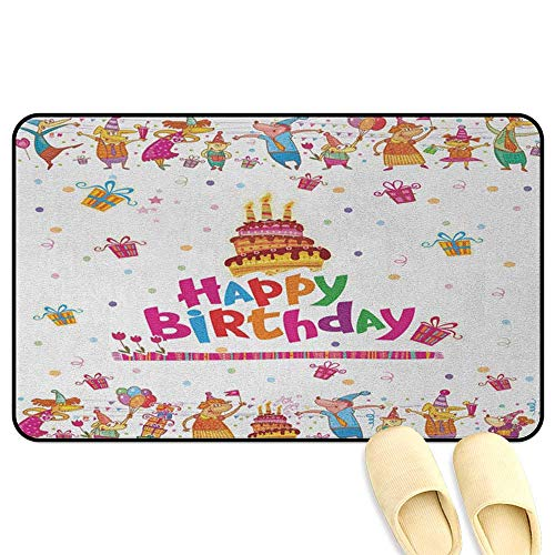 homecoco Birthday Office Comfort Standing Mat Joyful Mouses Partying Presents and Delicious Cake with Candles Festive Cartoon Multicolor 3D Digital Printing Mat W39 x L63 INCH ()