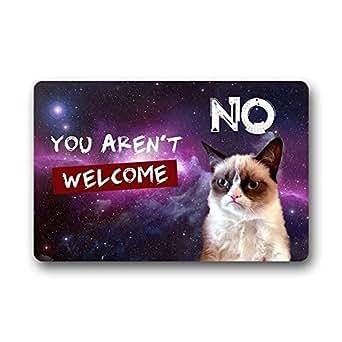 Our Iris You Aren't Welcome Grumpy Cat Galaxy Space Decorative Doormat Indoor/Outdoor Doormat Non-woven Fabric Non Slip 23.6(L) x 15.7(W)