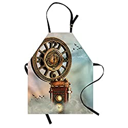 Lunarable Fantasy Apron, Magical Enchanted Landscape Big Antique Clock Flying Birds Fairytale, Unisex Kitchen Bib Apron with Adjustable Neck for Cooking Baking Gardening, Pale Blue Brown Pink