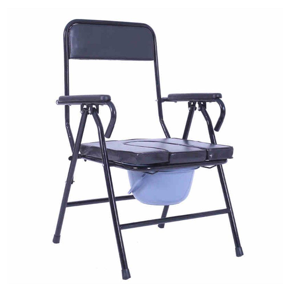 黒い折りたたみ柔らかくて快適な高齢者人トイレシート椅子椅子妊娠中の女性入浴スツールリムーバブルトイレ障害者スチールチューブトイレチェア最大150kg B07DJ3SPSV