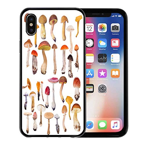 Emvency Phone Case for Apple iPhone Xs case,Red Toadstool Large of Mushrooms Orange Collection Autumn Birchbolete for iPhone X Case,Rubber Border Protective ()