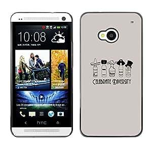 Diversidad De Brandy - Metal de aluminio y de plástico duro Caja del teléfono - Negro - HTC One M7