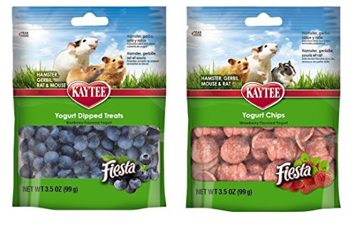 (Kaytee Small Animal Treats 2 Flavor Variety Bundle (1) Each: Blueberry Flavored Yogurt Dipped Treats, Strawberry Flavored Yogurt Chips, 3.5 Ounces Each)