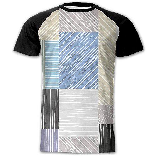 Newfood Ss Square Shaped Box Forms with Sketch Tone Traces Hand Drawn Print Men's Short Sleeve Raglan T XXL