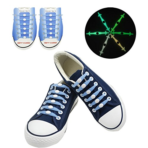 SENT CHARM No Tie Elastic Fluorescent Shoelaces Glow
