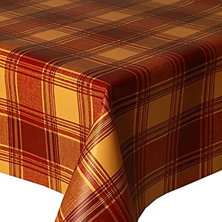 PVC Tablecloth Highland Terracotta 1 Metre (100cm X 140cm), Tartan Check  Multi,