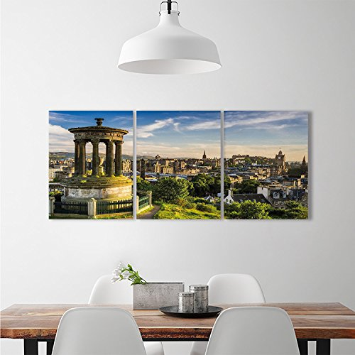 Green Heritage Kitchen - djidliyz8 Cityscape background wall stickers Edinburgh Town Aerial View of Historical Buildings Heritage Panorama ArtTriple stickers Fern Green Blue Tan
