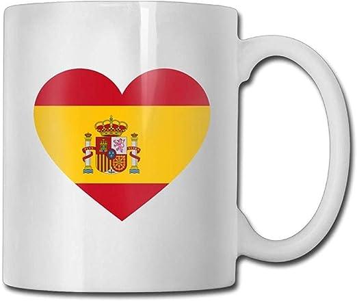 Cerámica Copa,Bandera En Forma De Corazón De España Tazas De Café 11 Onzas: Amazon.es: Hogar