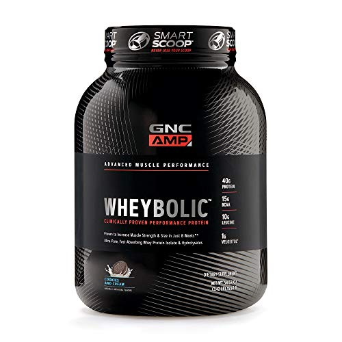 (GNC AMP Wheybolic Whey Protein Powder, Cookies and Cream, 25 Servings, Contains 40 Protein, 15g BCAA, and 10g Leucine Per Serving )