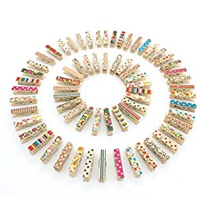 100pcs Zicome Mini Colorful Natural Wooden Photo Paper Peg Pin Clothespin Craft Clips