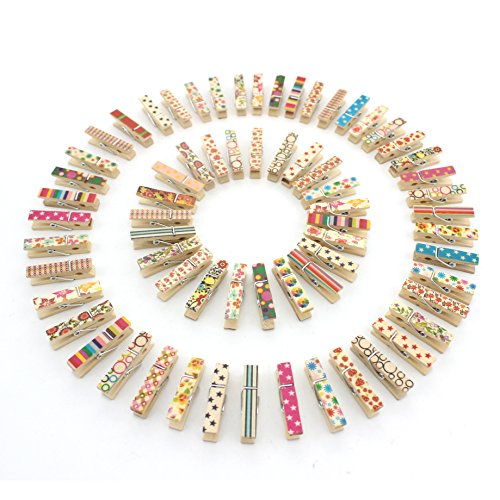 Z ZICOME 100pcs Mini Colorful Natural Wooden Photo Paper Peg Pin Clothespin Craft -