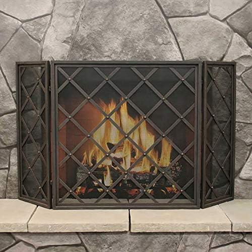 暖炉スクリーン MYL ヴィンテージアイアンブラック暖炉スクリーン3パネル、赤ちゃんの安全のためのメッシュカバー、スパークガードやウッドバーニングハースアクセサリーを備えた大型のインテリア立ち門 (Color : Black)