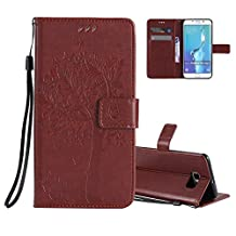 Galaxy S6 Edge Wallet Case Cover Embossed Flower Cat Wishing Tree Design [Coffee] Aeeque Shockproof Folio Flip Phone Cases Slim Fit Bumper Full Protection Cover Case for Samsung Galaxy S6 Edge
