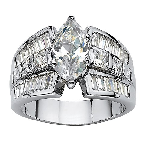 (Palm Beach Jewelry Marquise-Cut White Cubic Zirconia Platinum-Plated Engagement Anniversary Ring Size 7)