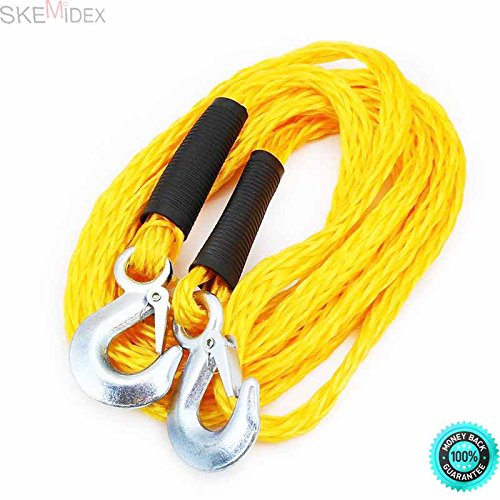 SKEMiDEX--- 6500lbs Tow Rope 14' Poly Braid Super Strong With Hooks ATV Car Emergency Auto Ideal Roadside Emergency Tow Rope - Lighter and Easier to Use than Chains Poly Braid Extra super Strength (Rope Tow Braid)