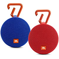 JBL Clip 2 Waterproof Portable Bluetooth Speaker Pair (Blue/Red)