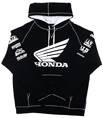 JH DESIGN GROUP Honda Racing Mens Wing Logo Hoodie With Exclusive American Flag Sticker (3X, Black - (Rebel Flag Graphic)