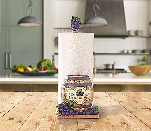 (Decorate Your Kitchen With An Elegant Hand Painted Paper Towel Holder (Wine Theme With Barrel))